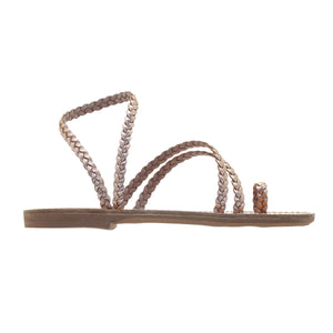 pink gold  women leather ancient greek sandals