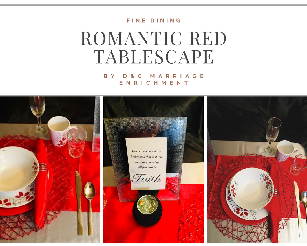 Romantic Red - Tablescape for Two (Free Shipping)