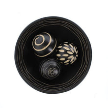 Load image into Gallery viewer, Decorative Black Bowl With Carved Balls