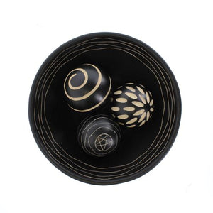 Decorative Black Bowl With Carved Balls