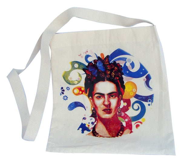 Canvas Silk Screened Portrait Original Frida Kahlo Tote Style 1