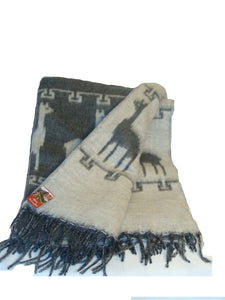 Brushed Alpaca Two Tone Llama Pattern Blanket Throw- Charcoal and Gray