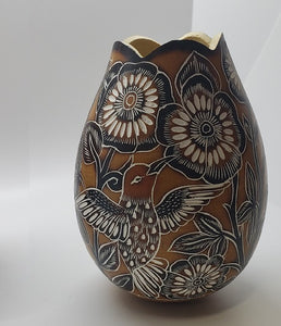 Gourd Flower Vase Hand Carved Peru Natural Floral and Butterflies Birds