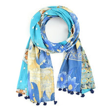 Load image into Gallery viewer, Cool Tones Kantha Scarf