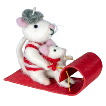Load image into Gallery viewer, Felt Ornament: Toboggan Mice