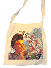Load image into Gallery viewer, Canvas Silk Screened Portrait Original Frida Kahlo Tote Style 4