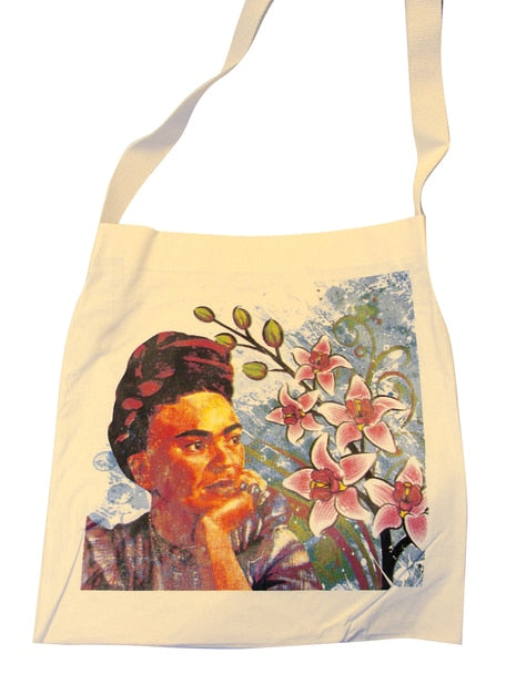Canvas Silk Screened Portrait Original Frida Kahlo Tote Style 4