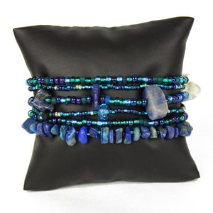"Blue Beads Six Strands 3"" Wide Bracelet"