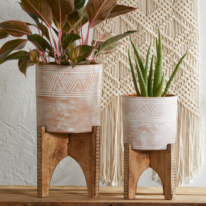 Etched Cylinder Planters