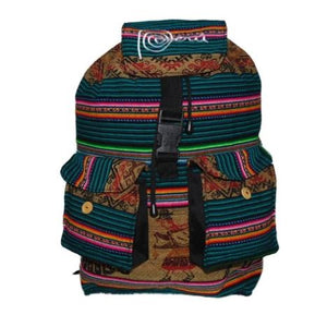 "Back Pack Peru Cotton Manta Hand Loomed Fabric 12"" x 18"" x 8"""