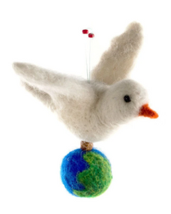 FELTED WOOL DOVE ORNAMENT WITH GLOBE