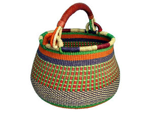 G-161 Pot-shaped Basket w/ Leather Handle