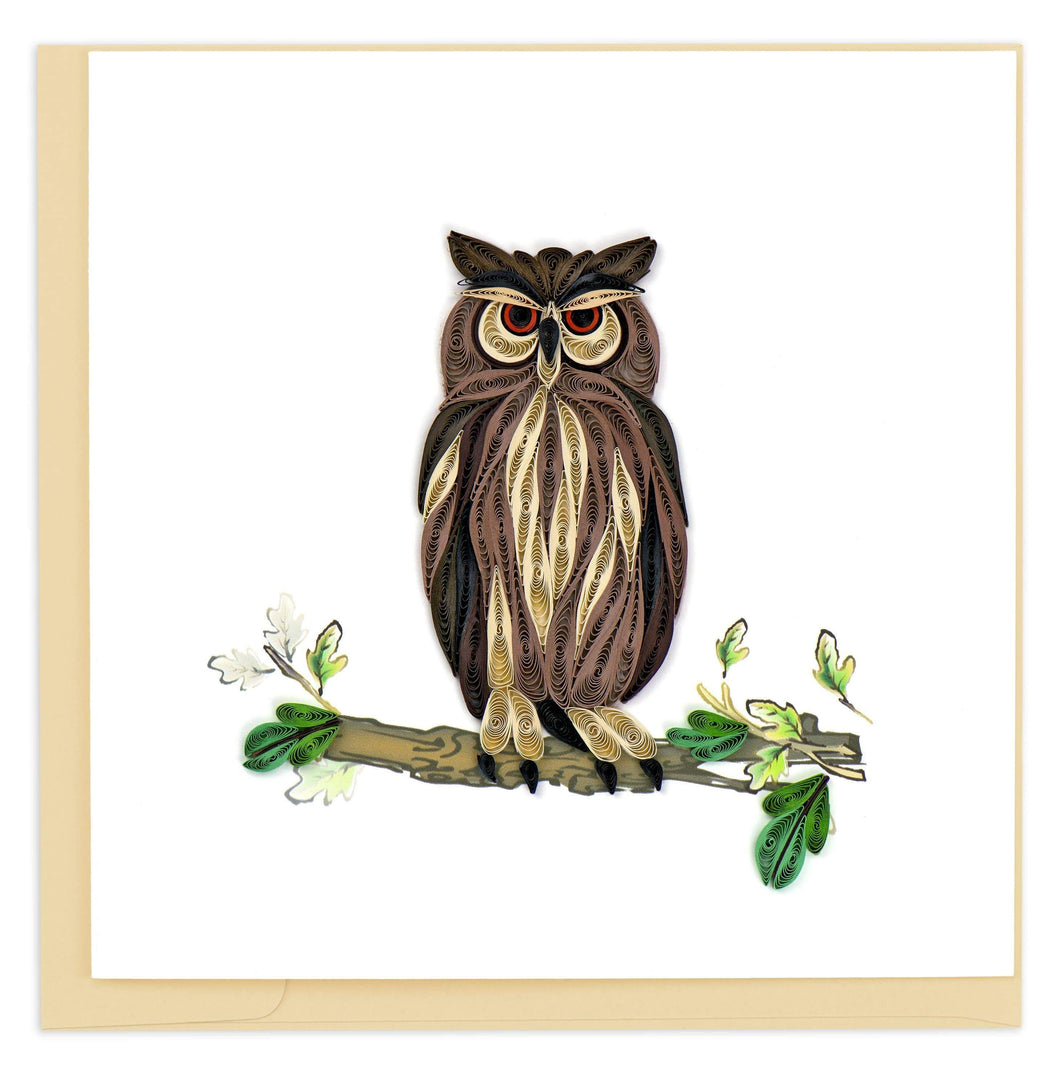 Quilled Great Horned Owl Card
