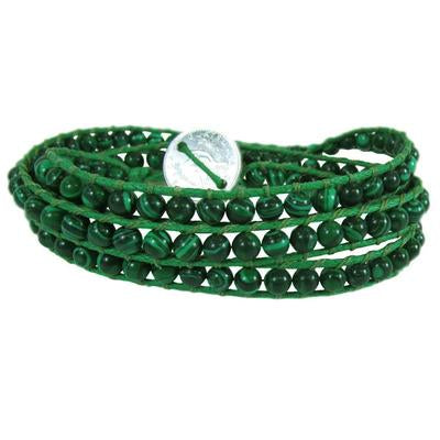 Triple Wrap Bead Bracelet - Green