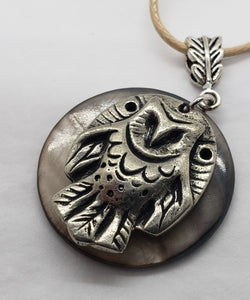 Liza Paizis Owl With Mother of Pearl Pendant Necklace