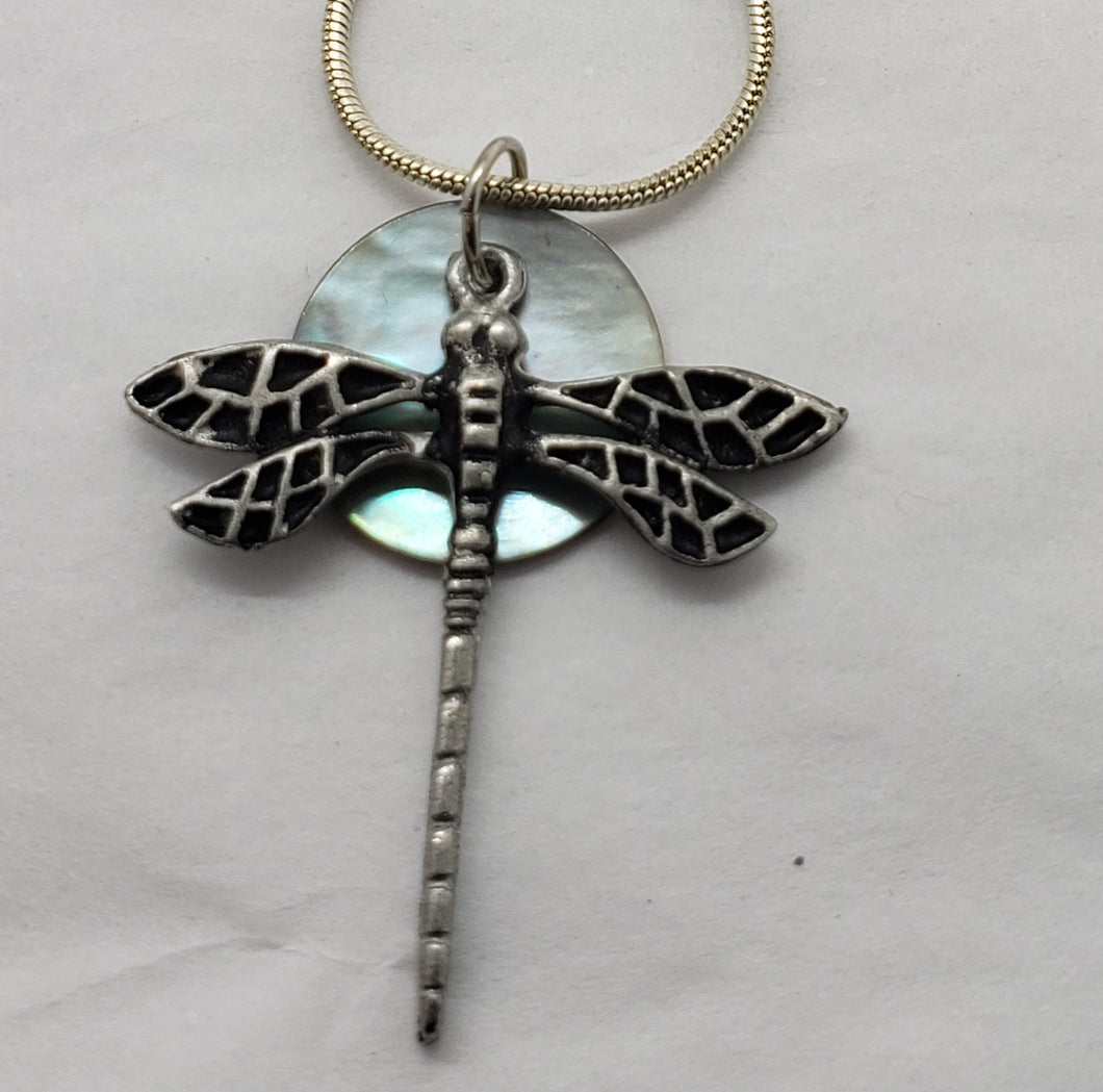 Liza Paizis Mother of Pearl Dragonfly Pendant Necklace
