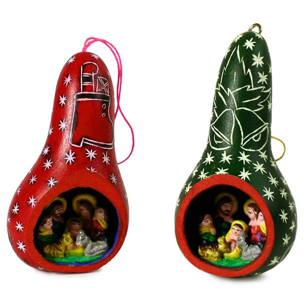 Gourd Nativity Ornament with Stars Carved with Scene Inside