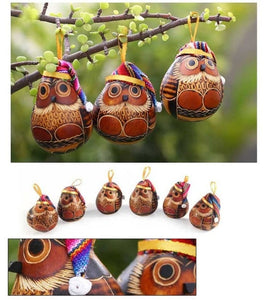 Carved Gourd Holiday Owl Christmas with Hat Ornament