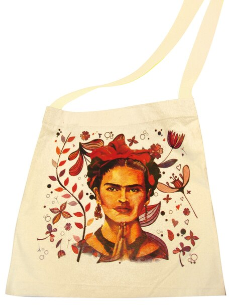 Canvas Silk Screened Portrait Original Frida Kahlo Tote Style 5