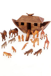 Large African Hand Carved Wooden Noah's Ark with Animals