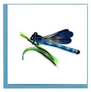 Quilled Blue Dragonfly Card