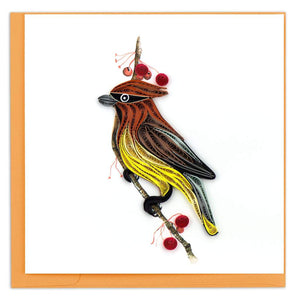 Quilled Cedar Waxwing Card