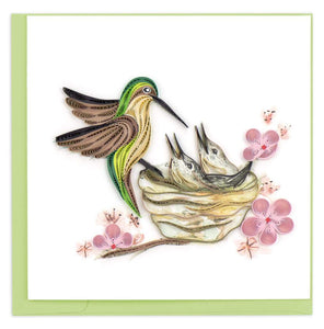 Quilled Hummingbird & Babies Card