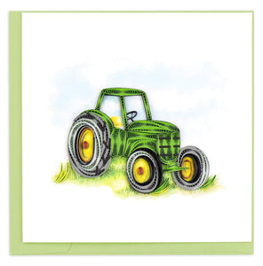 Quilled Green Tractor Greeting