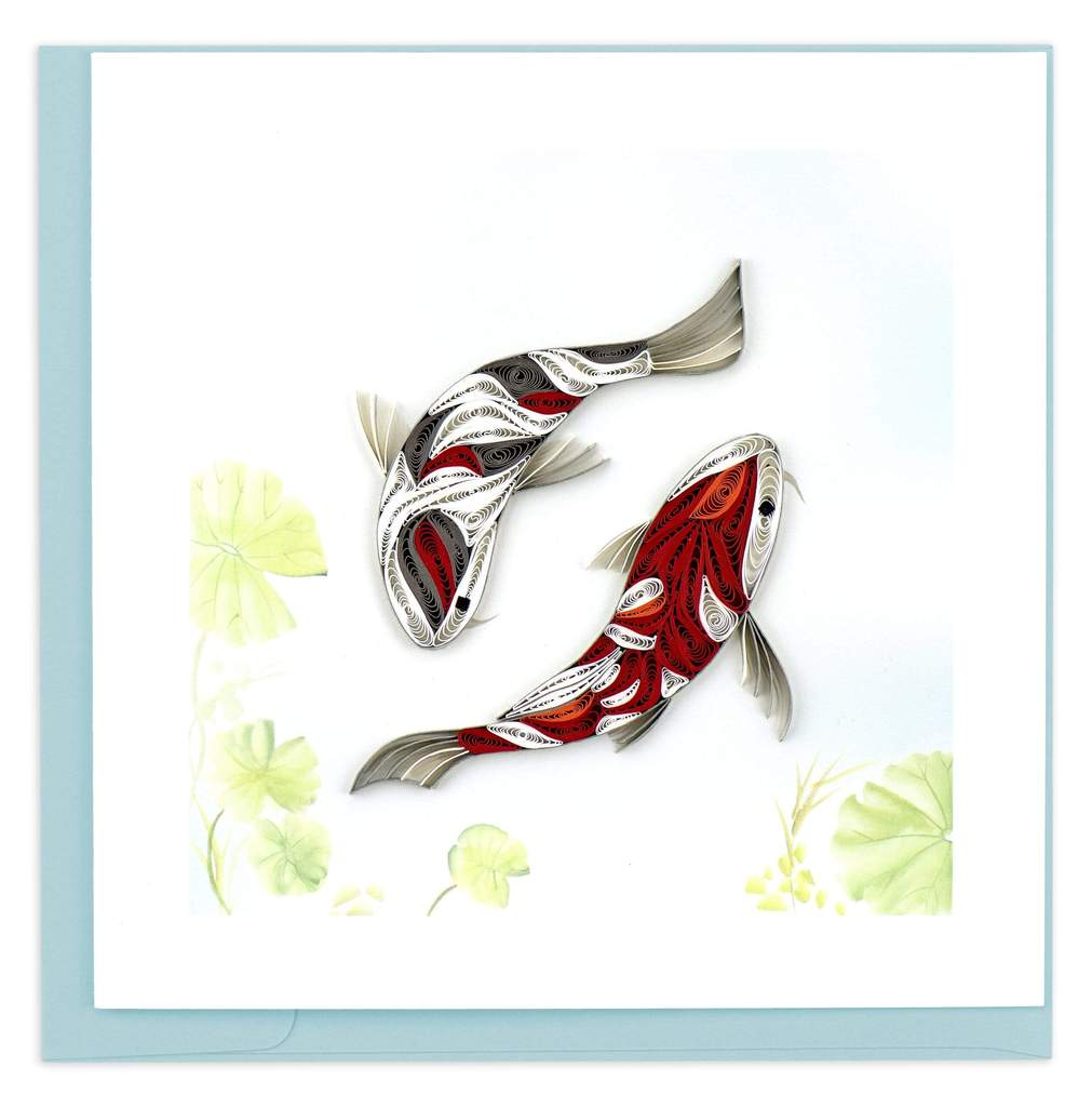 Quilled Two Koi Fish Card