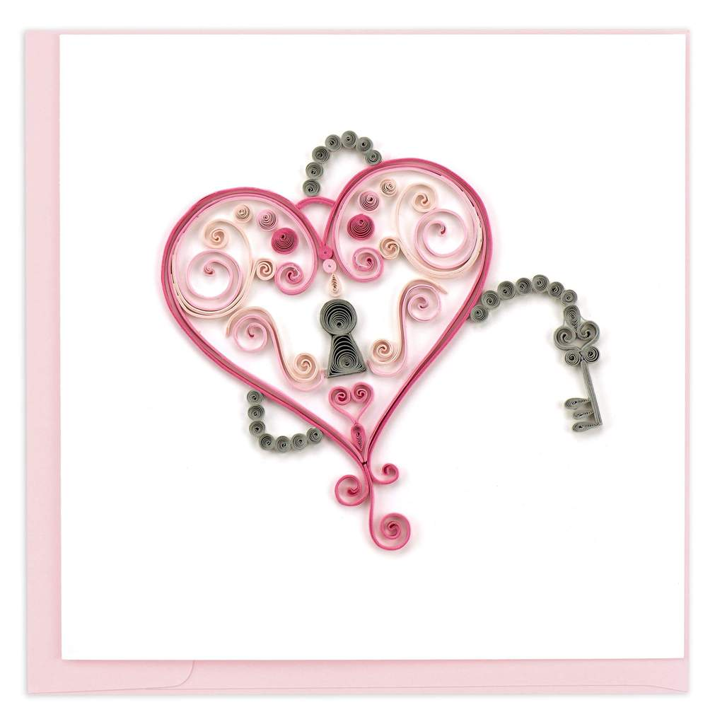 Quilled Key to My Heart Card