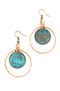 Copper Disc Earring