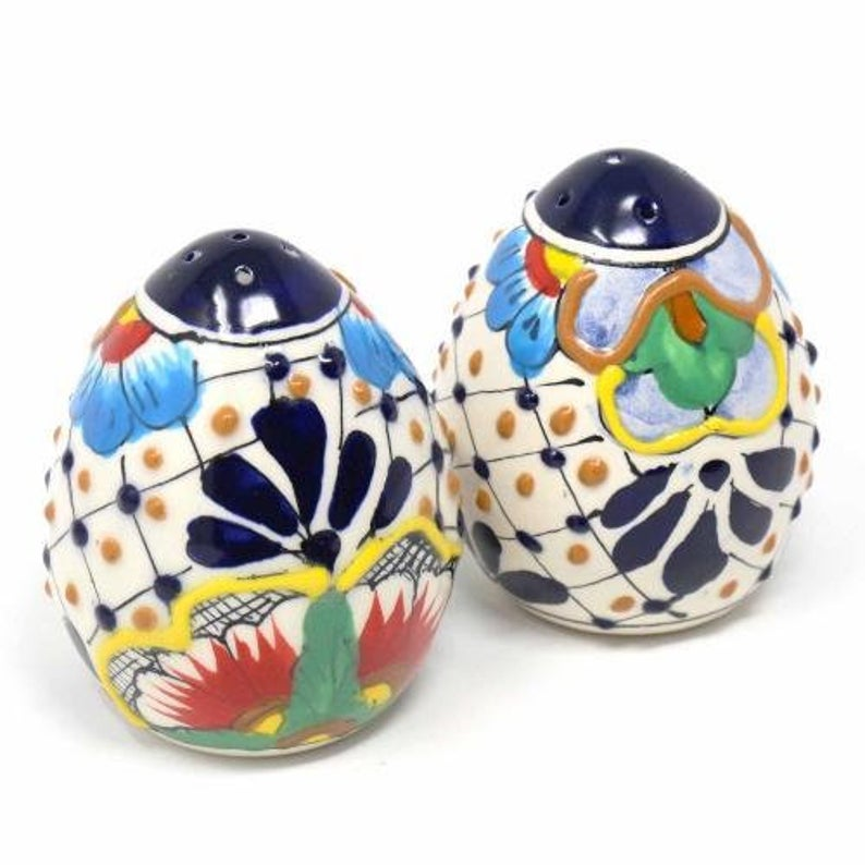 Encantada Handmade Pottery Salt & Pepper Shakers, Dots & Flowers