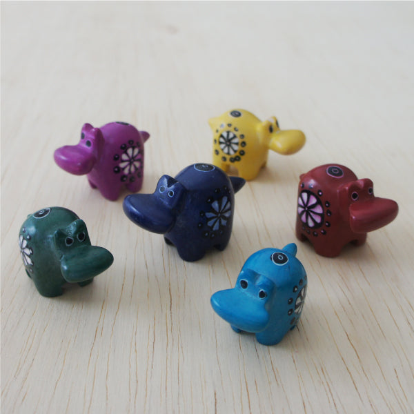 Tiny Kisii Hippos Etched & painted