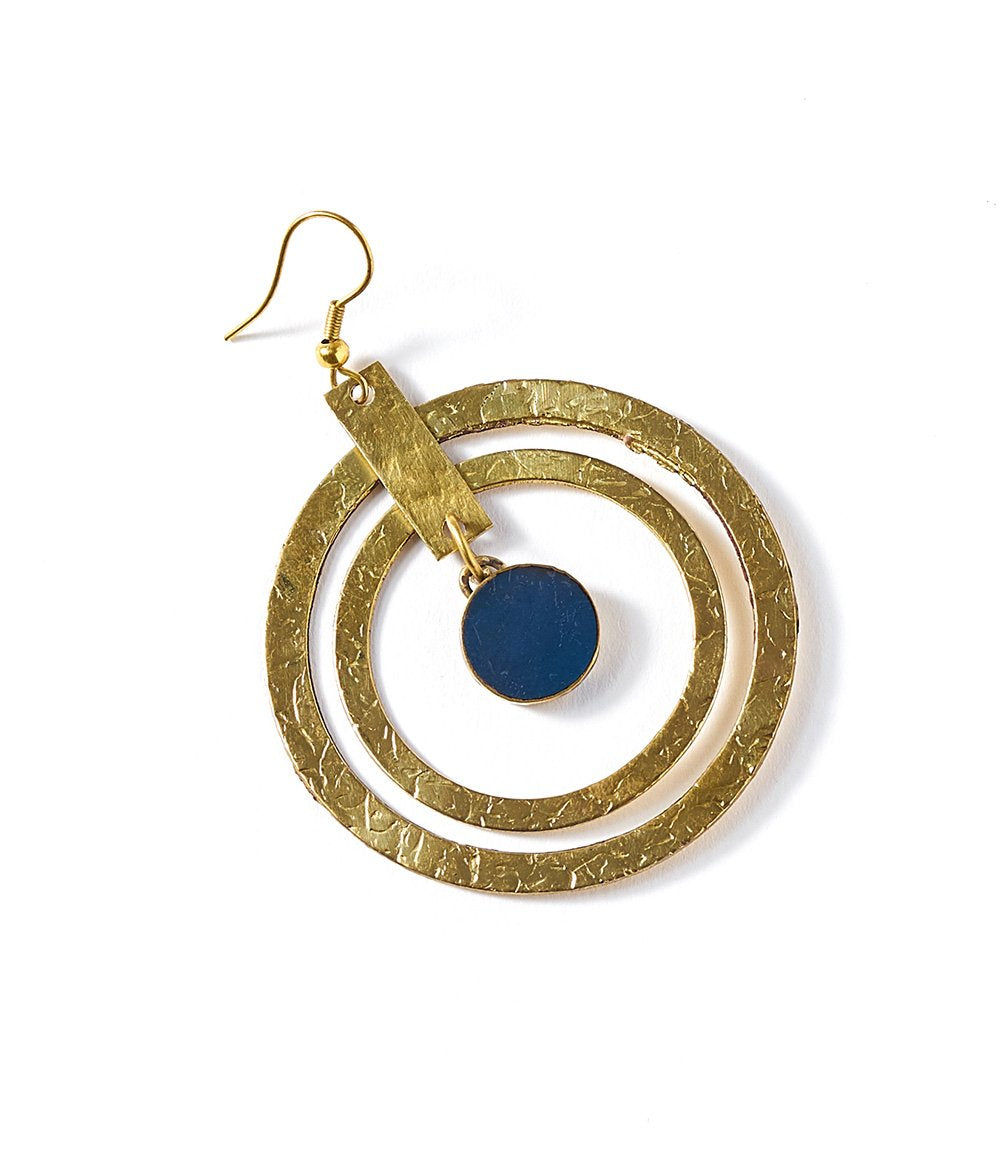 Ria Earrings - Colbalt Hoop