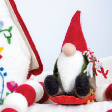 Load image into Gallery viewer, Felt Ornament: Sledding Gnome