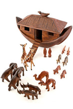 Load image into Gallery viewer, African Hand Carved Wooden Noah's Ark with Animals