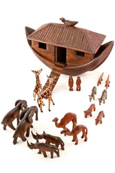African Hand Carved Wooden Noah's Ark with Animals
