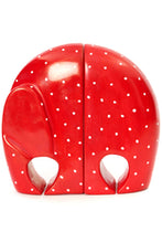 Load image into Gallery viewer, Red Polka Dot Soapstone Elephant Bookends