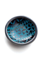 "Kuba Round Soapstone Bowl - 4"" Black with Blue"