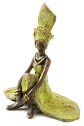 Bronze Women in Green Sitting Small Burkina Sculpture