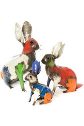 Colorful Recycled Oil Drum Rabbit Sculpture - Large