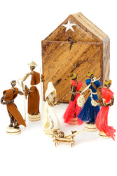 Banana Fiber Single Door Stable Nativity with Colorful Sisal