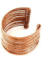 Load image into Gallery viewer, F.R.E.E. Woman Large Stacked Copper Cuff Bracelet