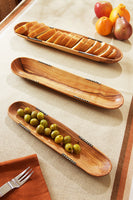 Wild Olive Wood Baguette Trays with Bone Inlay