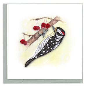 Quilled Downy Woodpecker Greeting Card