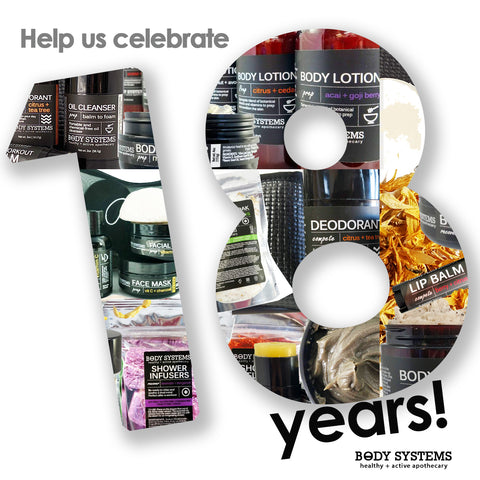 Help us Celebrate our 18th birthday picture with body systems products