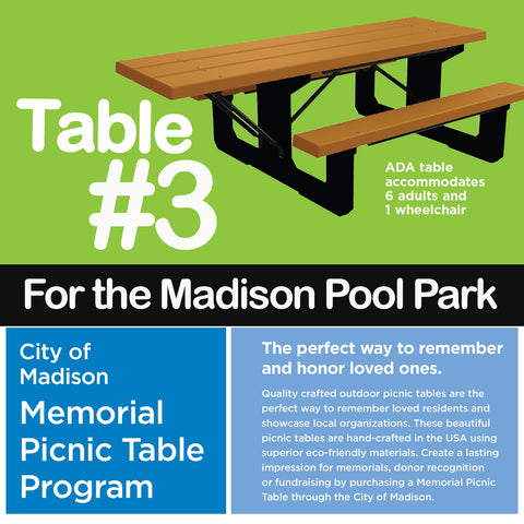 Recycled plastic picnic tables fundraiser in memory of Jackie Lange
