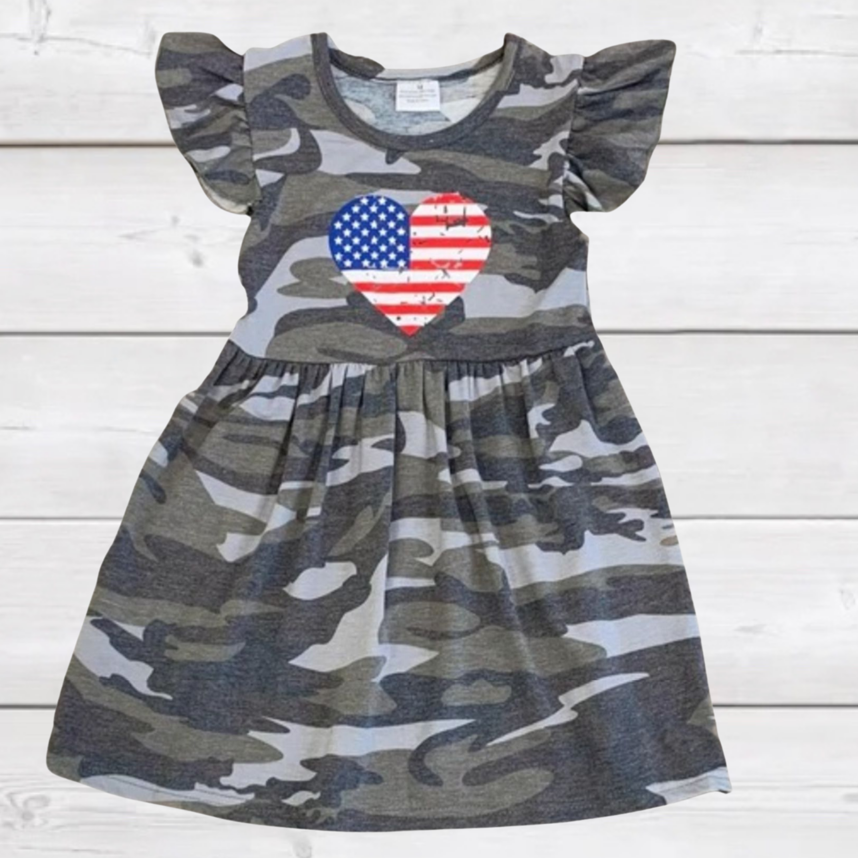 Camo Flag Heart Short Sleeved Dress [PREORDER]