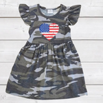 Load image into Gallery viewer, Camo Flag Heart Short Sleeved Dress [PREORDER]