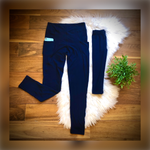 Load image into Gallery viewer, Navy Pocket Mommy + Me Leggings